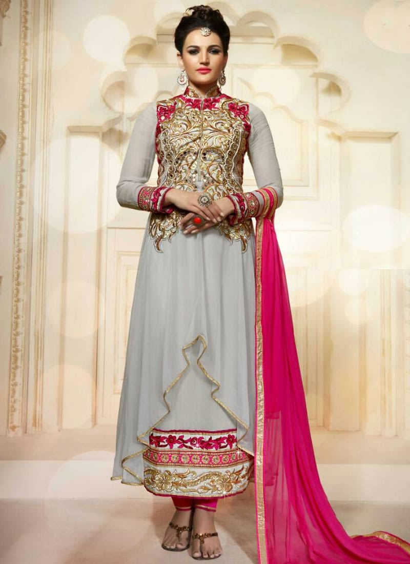 Lovable Beads And Lace Work Asymmetrical Style Designer Suit