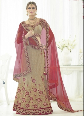 Lovable Beige and Maroon Trendy Lehenga