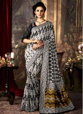 Lovable Black and Grey Art Raw Silk Traditional Saree