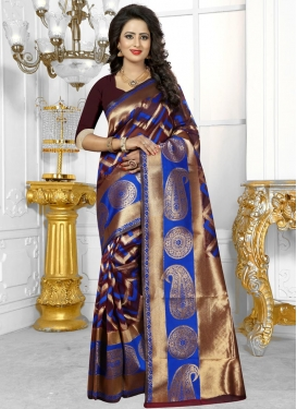 Lovable  Blue and Maroon Traditional Saree For Ceremonial