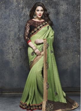 Lovable Booti Work Bhagalpuri Silk Wedding Saree