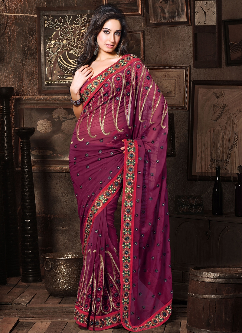 Lovable Burgundy Faux Georgette Casual Saree