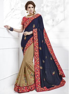 Lovable Embroidered Work Faux Chiffon Beige and Navy Blue Half N Half Saree For Festival