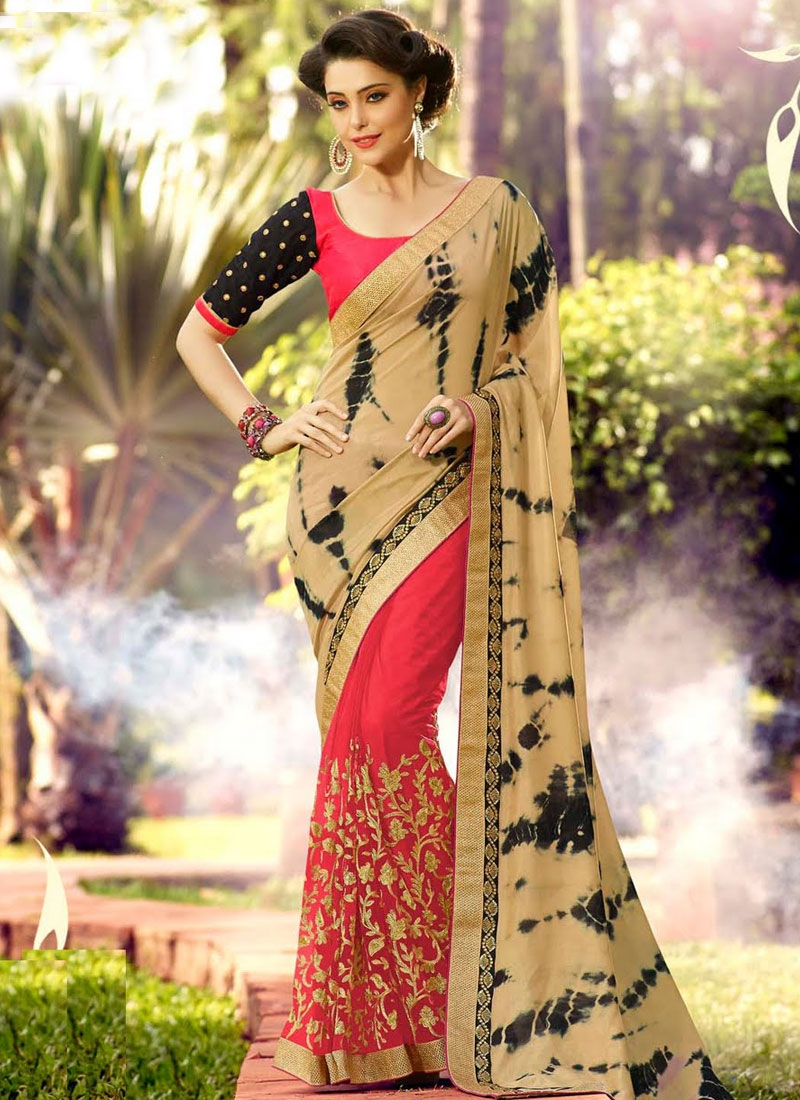 Lovable Embroidery Work Half N Half Designer Saree