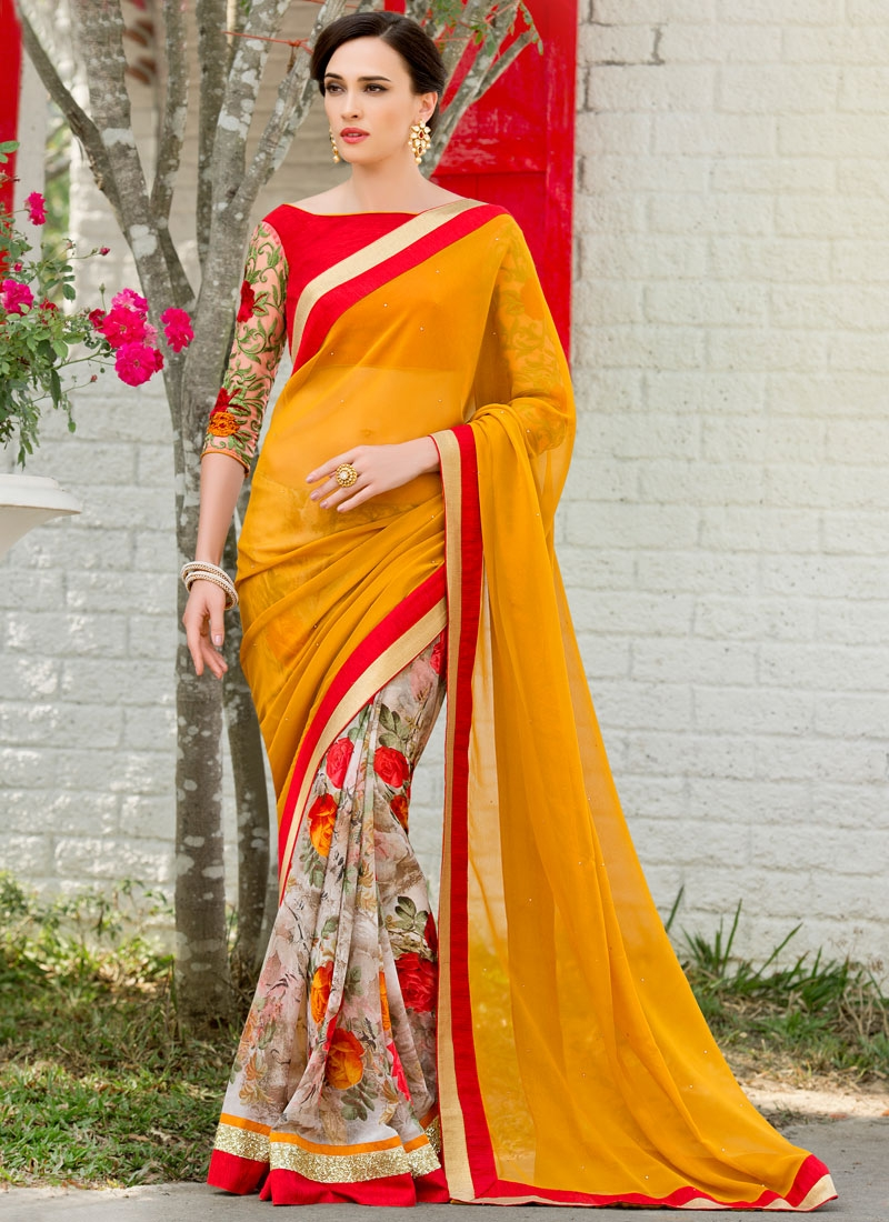 Lovable Faux Georgette Sequins Work Half N Half Party Wear Saree