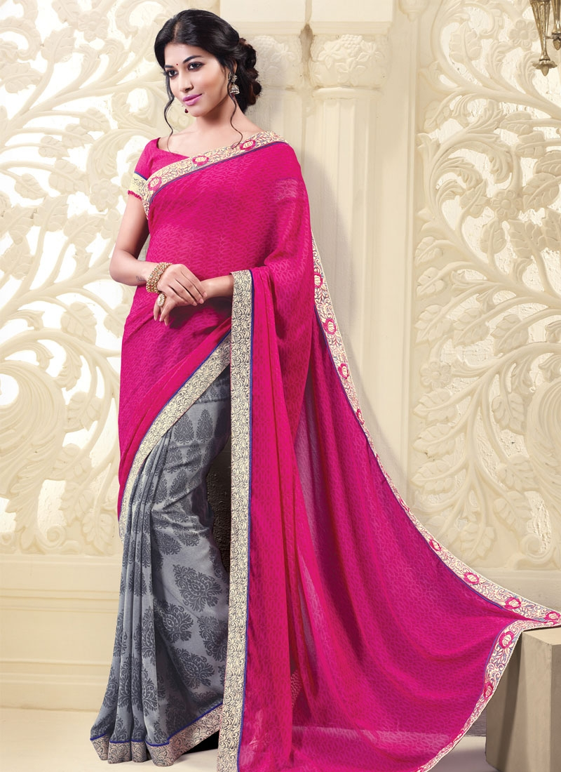 Lovable Grey And Rose Pink Color Half N Half Casual Saree