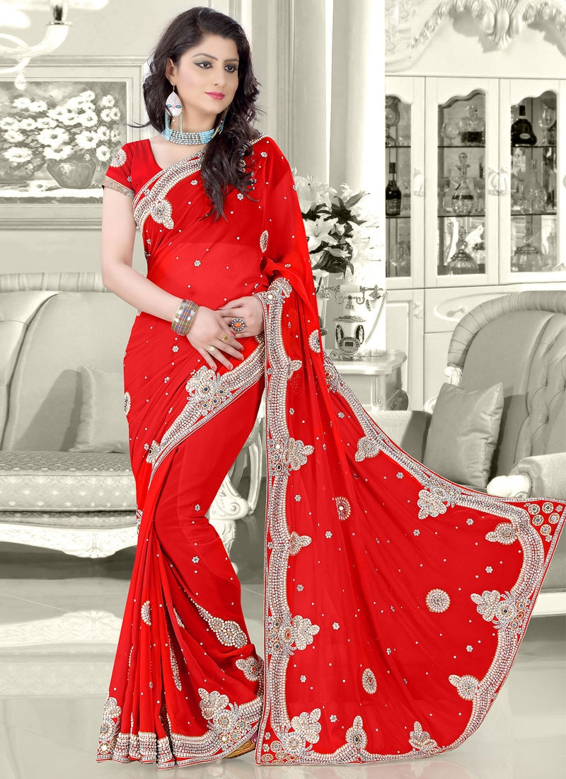 Lovable Mirror And Booti Work Red Color Bridal Saree