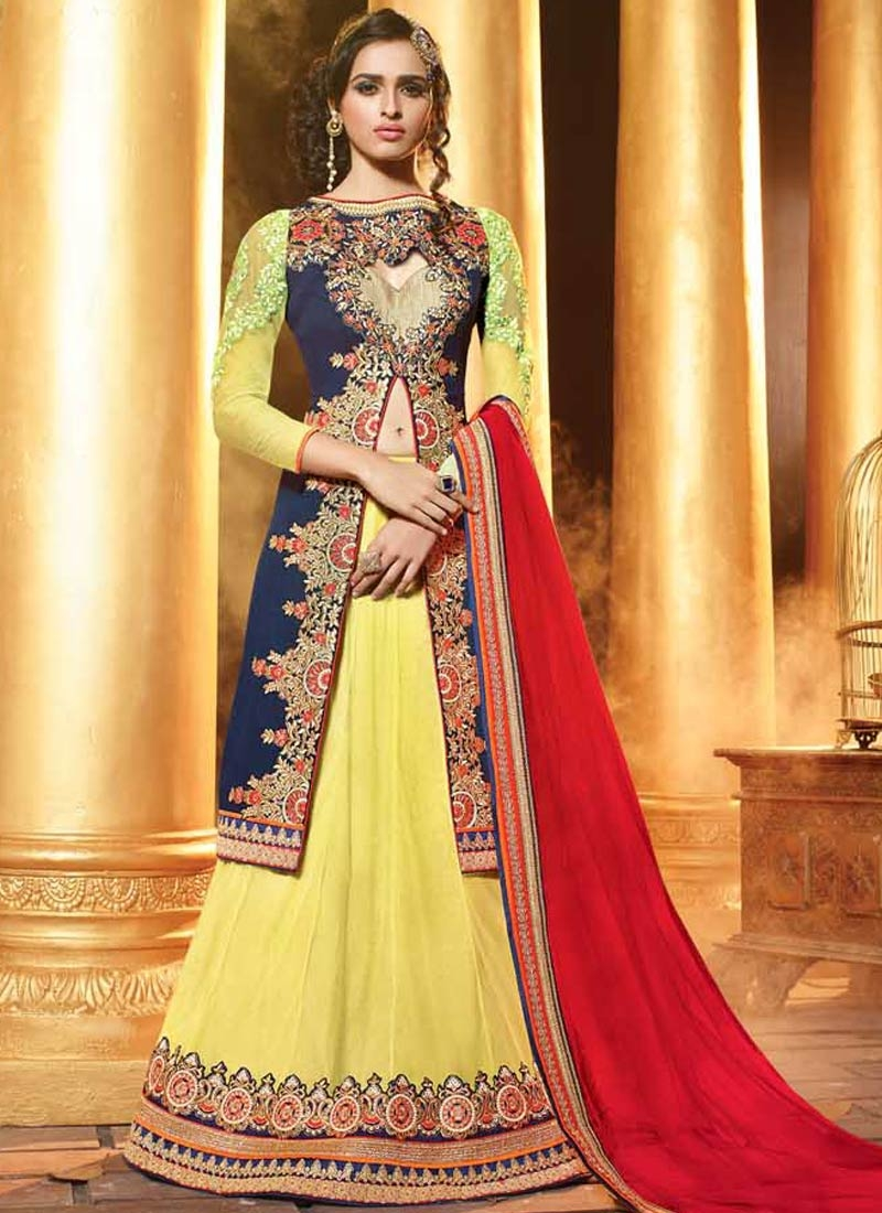Lovable Navy Blue And Yellow Color Designer Lehenga Choli