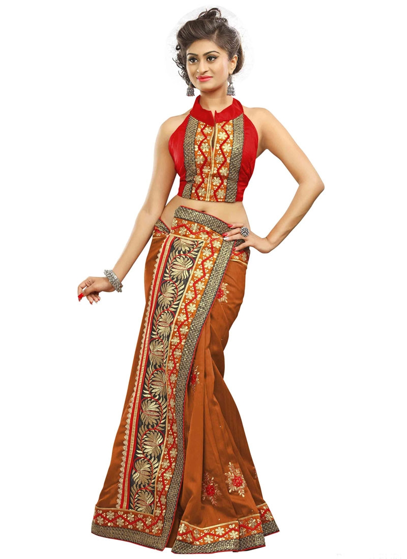 Lovable Orange Color Booti Work Party Wear Saree