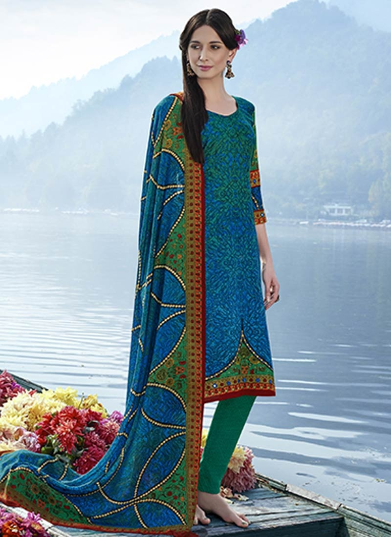 Lovable Pasmina Green And Blue Color Casual Suit