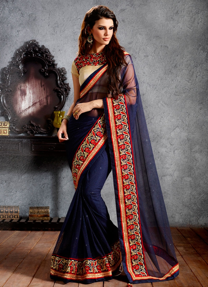 Lovable Patch Border Work Wedding Saree