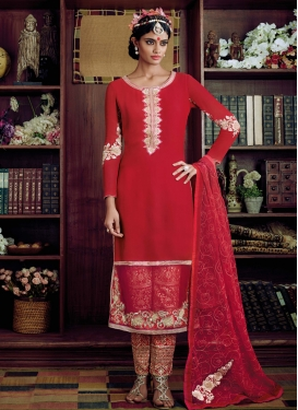 Lovable Red Color Bhagalpuri Silk Pant Style Designer Suit