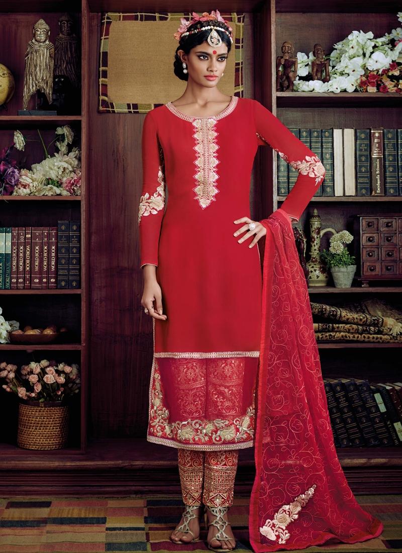 Lovable Red Color Bhagalpuri Silk Pant Style Designer Suit