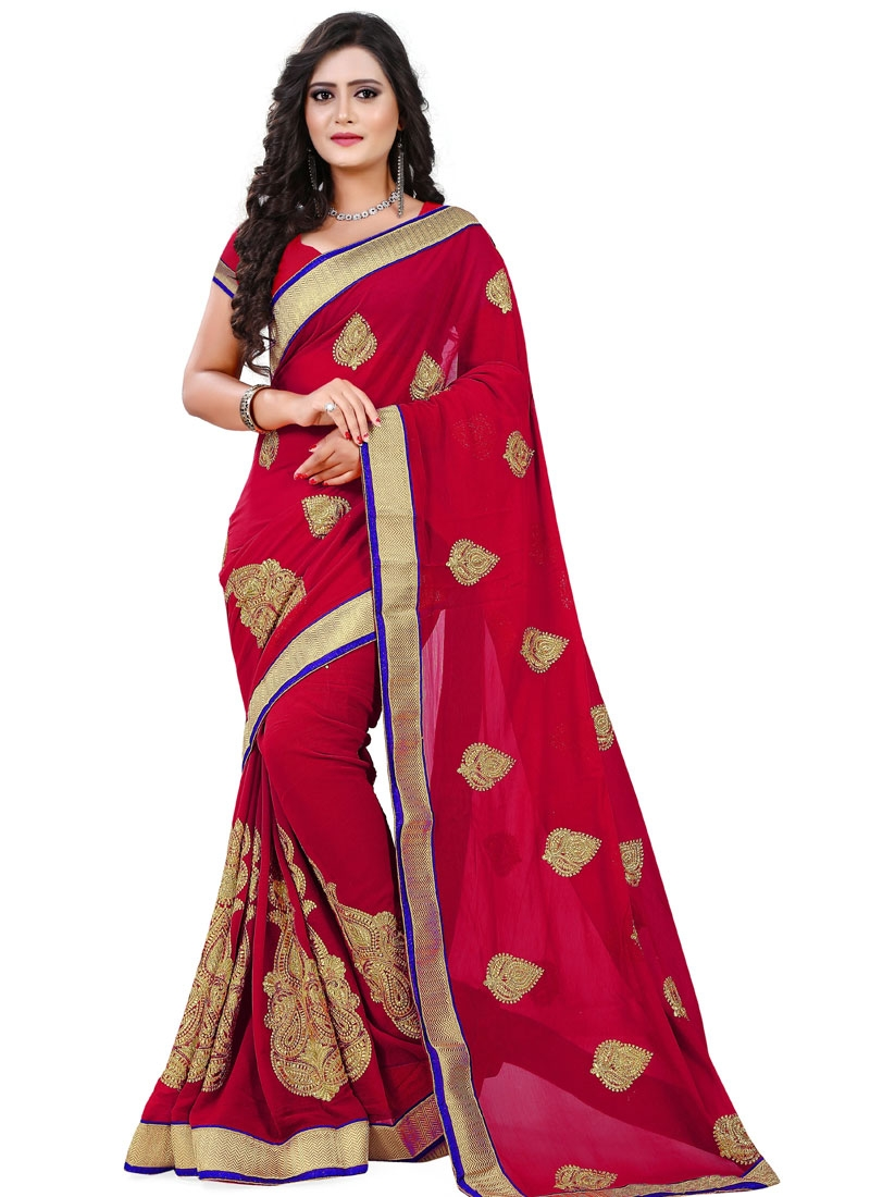 Lovable Red Color Booti Work Party Wear Saree