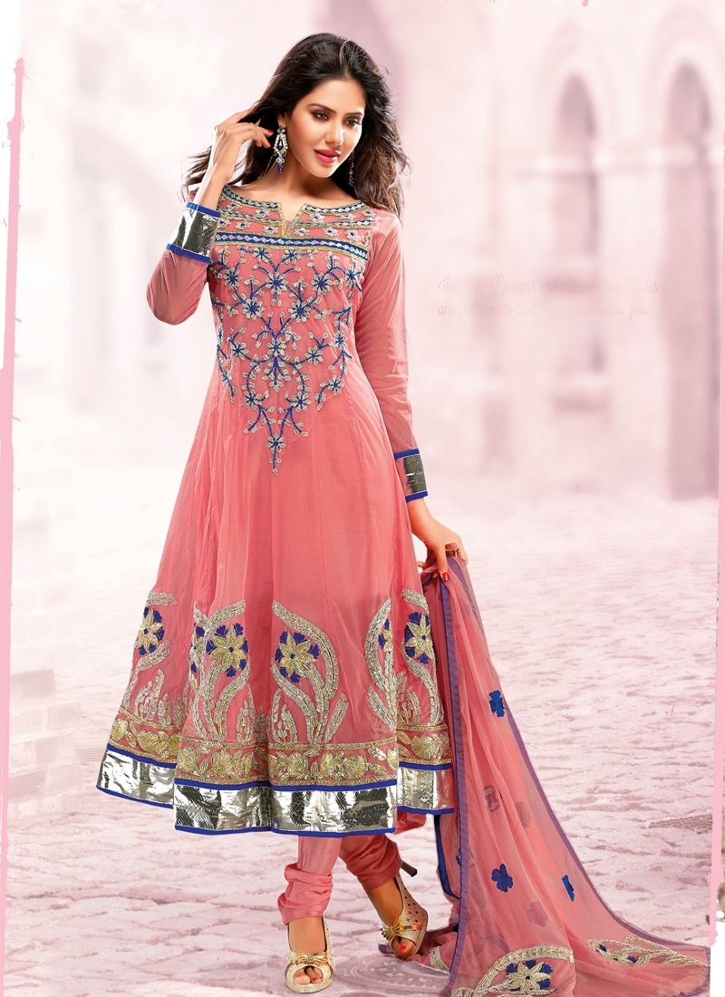 Lovable Salmon Color Net Anarkali Salwar Kameez