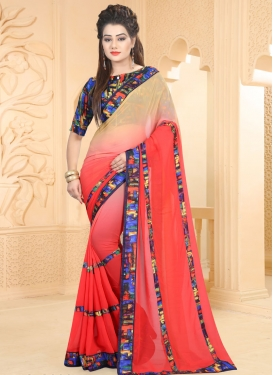 Lovely Abstract Print Work Beige and Red Faux Georgette Contemporary Saree For Casual