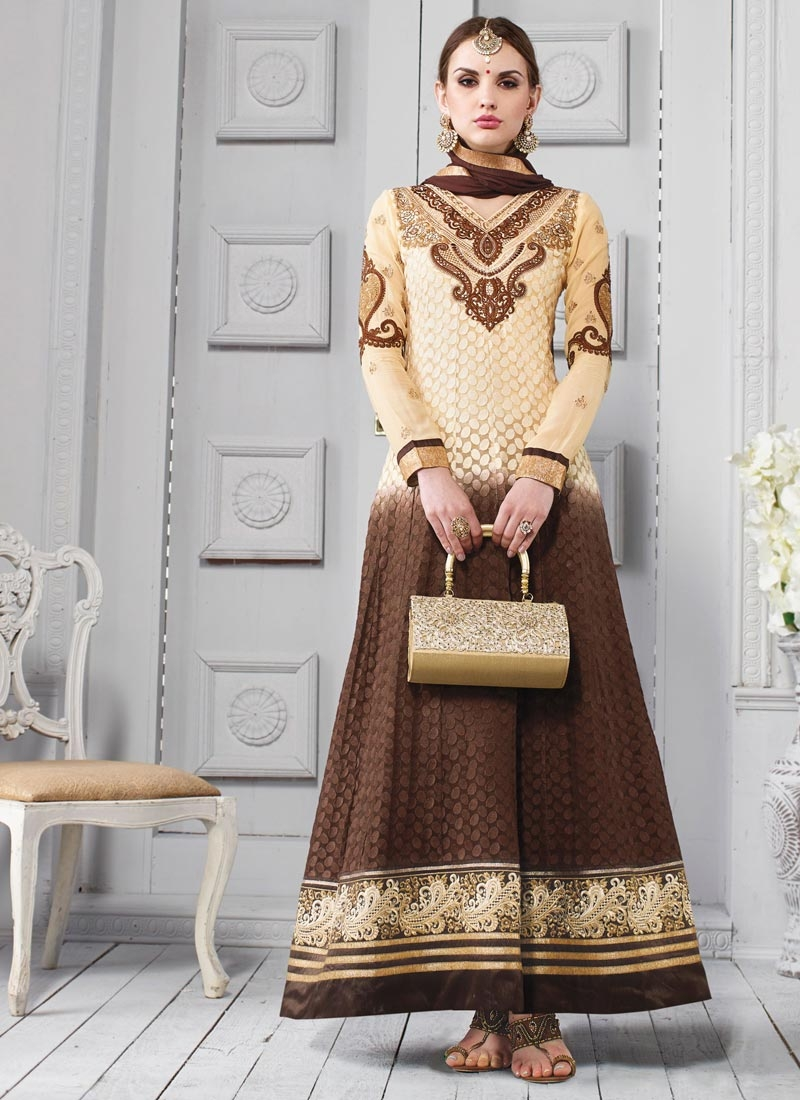 Lovely Cream And Brown Color Wedding Salwar Kameez