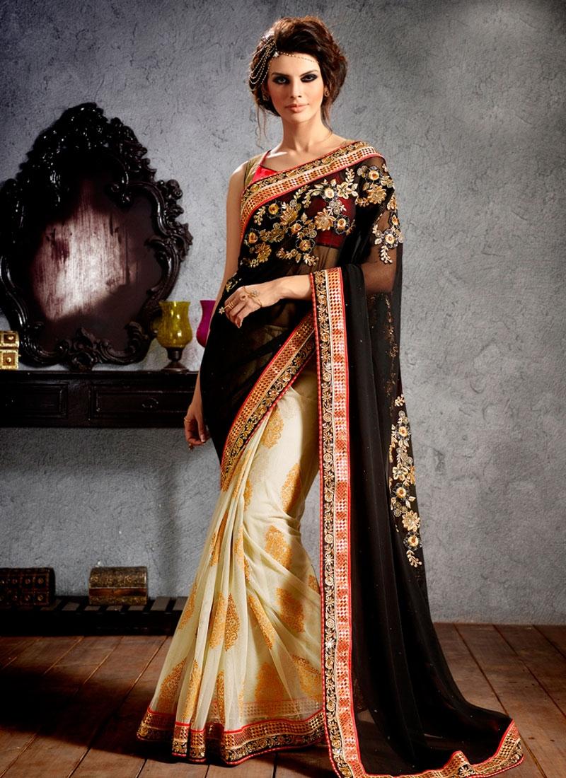 Lovely Embroidery Work Half N Half Designer Saree