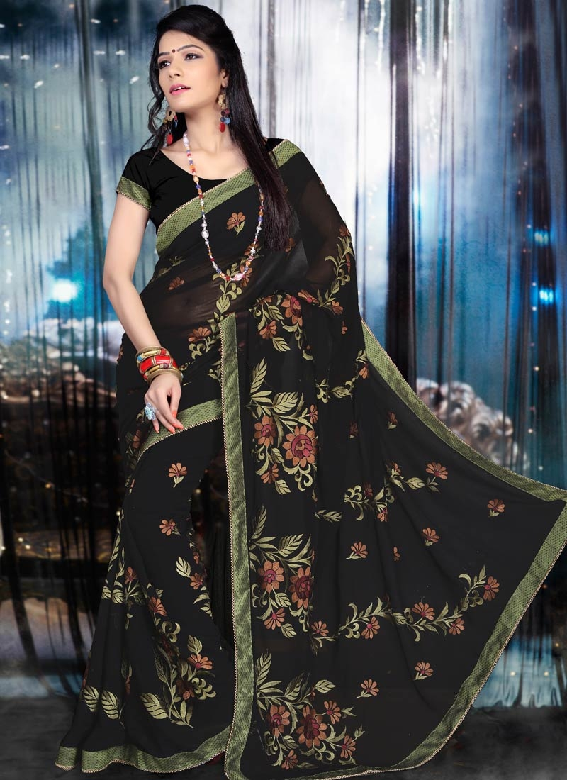 Lovely Embroidery Work Party Wear Saree
