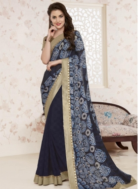 Lovely Faux Georgette Black and Navy Blue Half N Half Saree