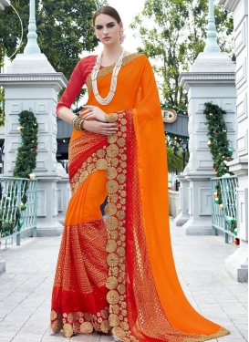 Lovely Faux Georgette Orange and Tomato Designer Traditional Saree For Ceremonial
