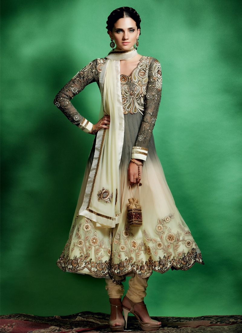 Lovely Gray And Cream Color Designer Suit