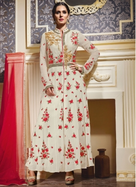 Lovely Mirror And Floral Work Ankle Length Designer Salwar Kameez