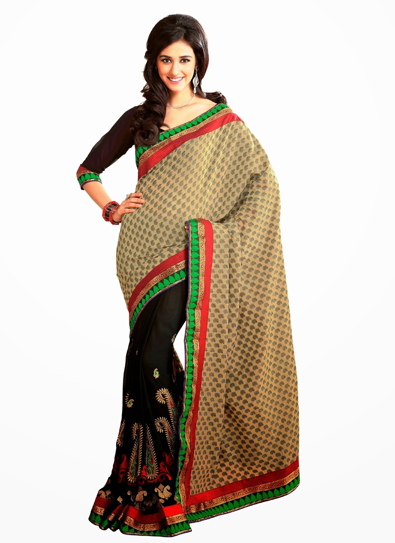 Lovely Multi And Lace Work Half N Half Saree