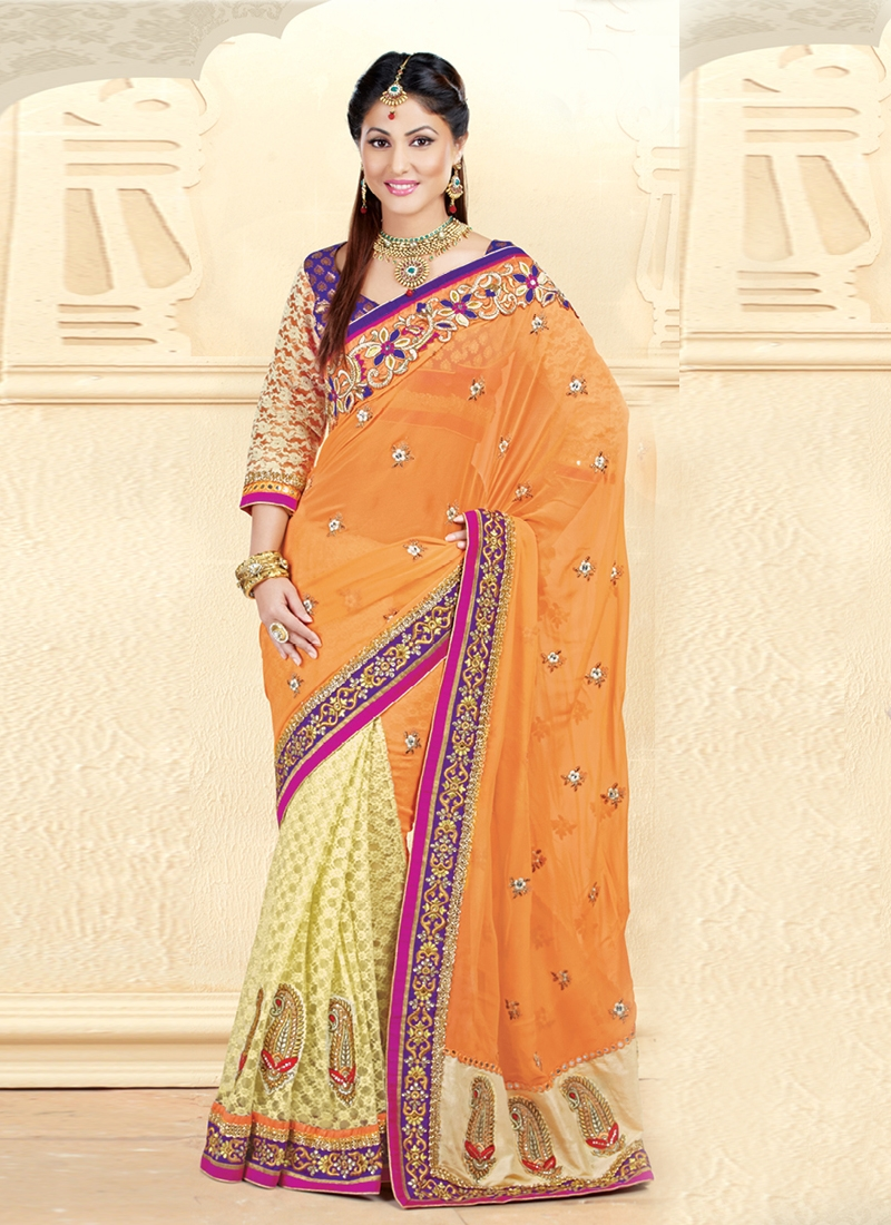 Lovely Multi And Patch Work Half N Half Saree