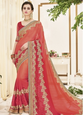Lovely Orange and Salmon Beads Work Traditional Designer Saree