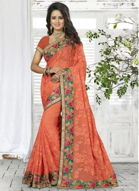 Lurid Aari Work Faux Georgette Contemporary Style Saree For Ceremonial