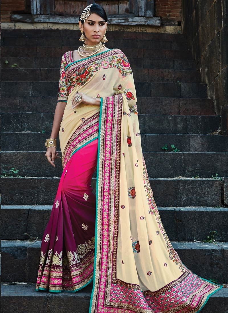 Lurid Embroidery Work Cream Color Half N Half Bridal Saree