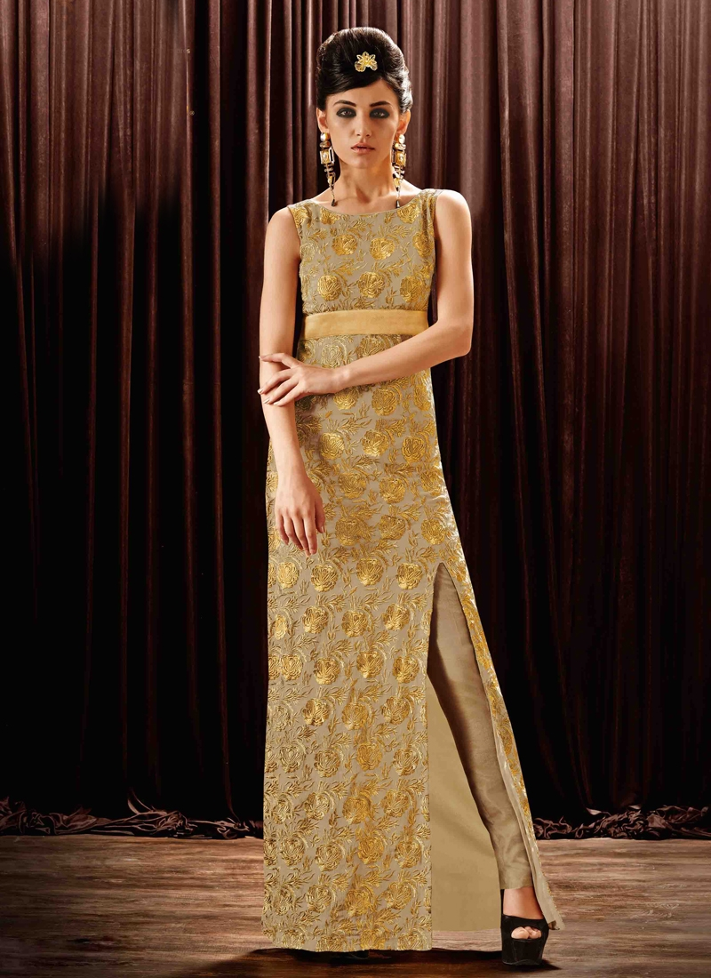 Lurid Embroidery Work Party Wear Readymade Gown
