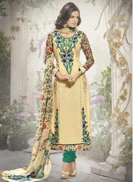 Lurid  Faux Georgette Cream and Sea Green Straight Pakistani Salwar Suit