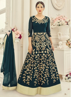 Lurid Gauhar Khan Embroidered Work Long Length Anarkali Salwar Suit