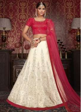 Lurid  Kundan Work Cream and Crimson Straight Lehenga Choli