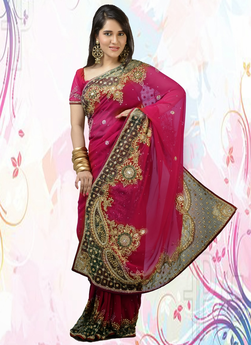 Lurid Resham Enhanced Bridal Saree