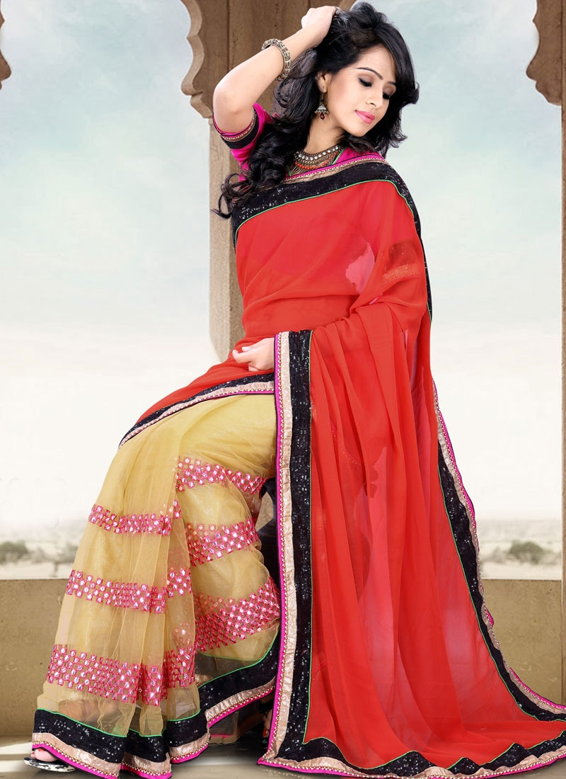 Lurid Sequins And Resham Work Party Wear Saree