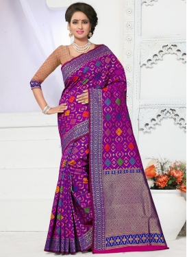 Luscious Banarasi Silk Resham Work Trendy Saree