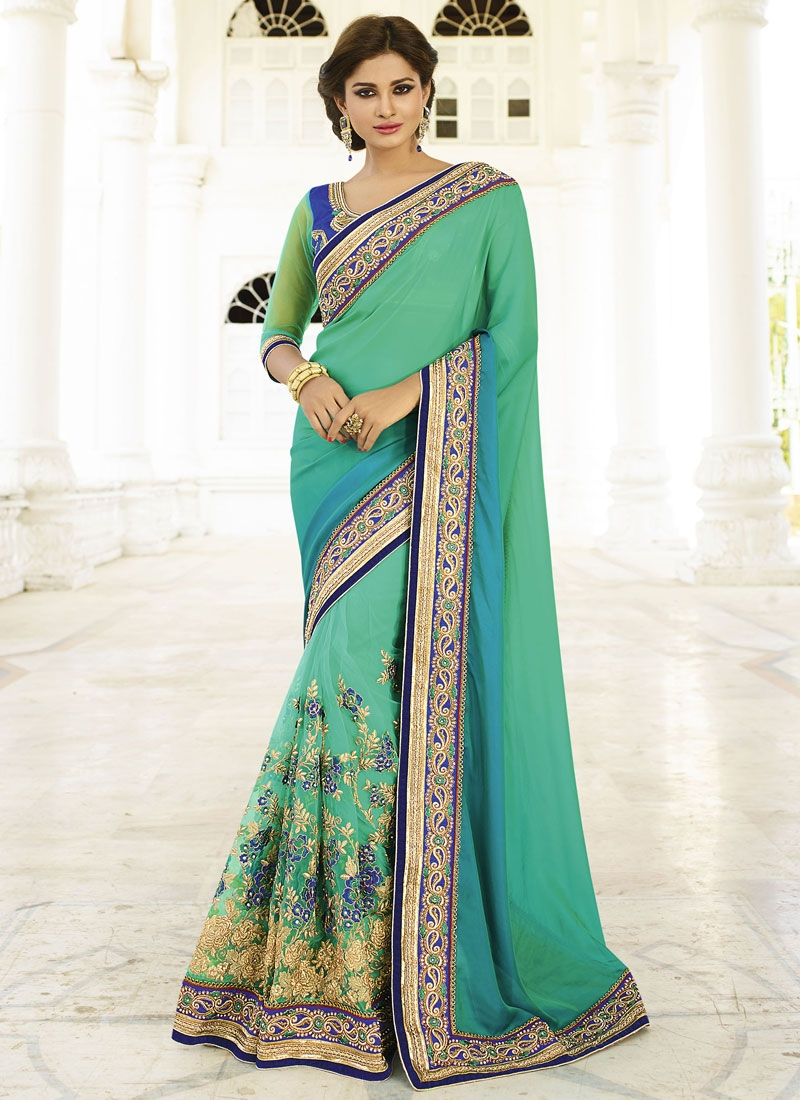 Luscious Beads Work Pure Georgette Wedding Saree
