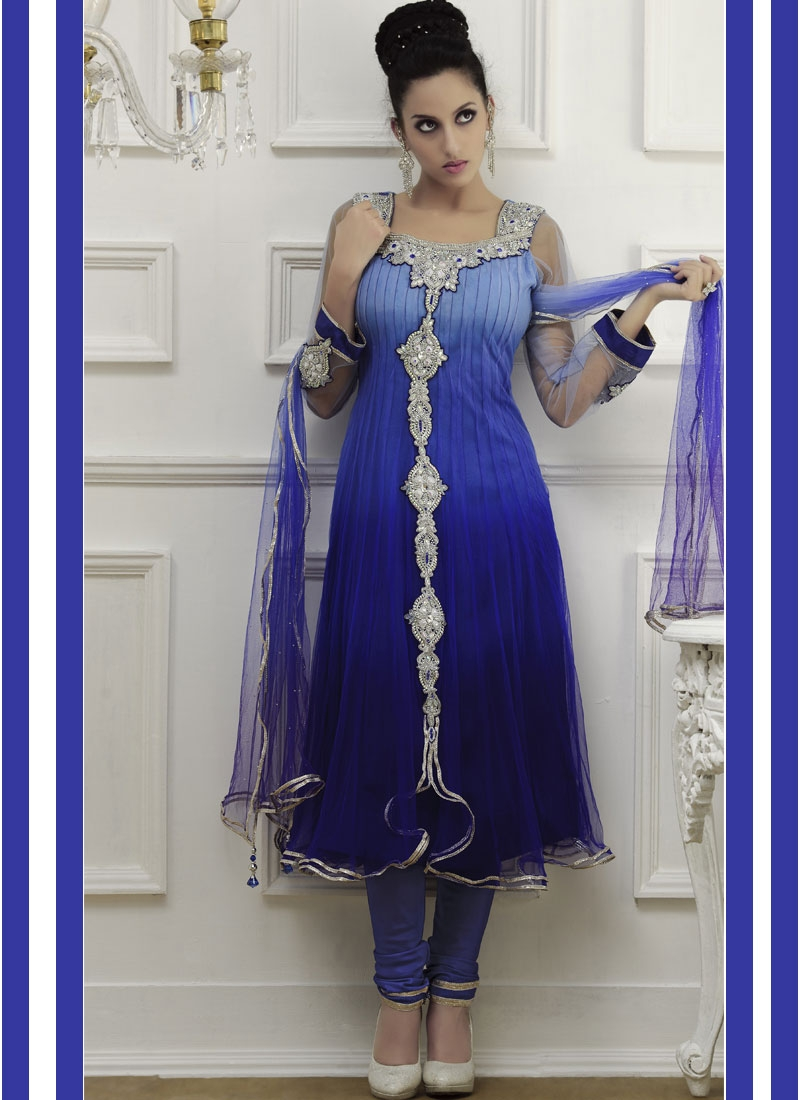 Luscious Blue Shaded Anarkali Salwar Kameez