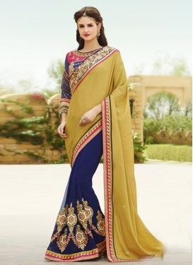 Luscious Booti And Resham Work Half N Half Designer Saree