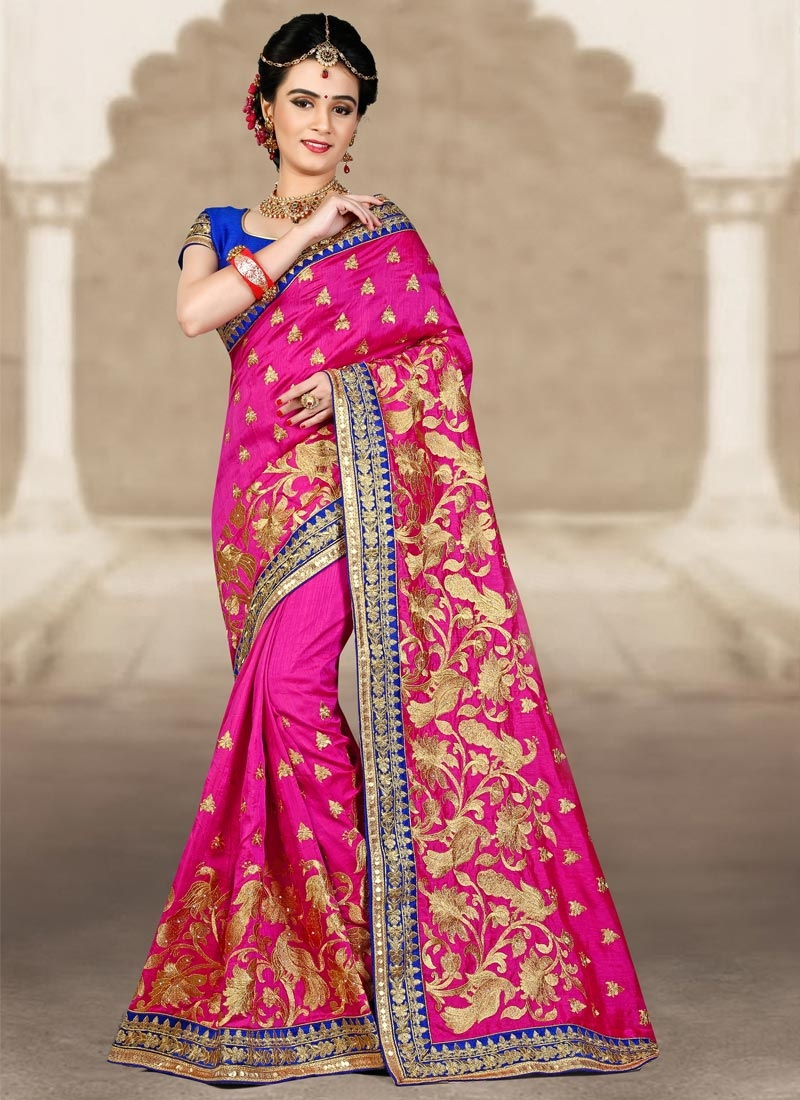 Luscious Embroidered Work Silk Contemporary Saree For Festival