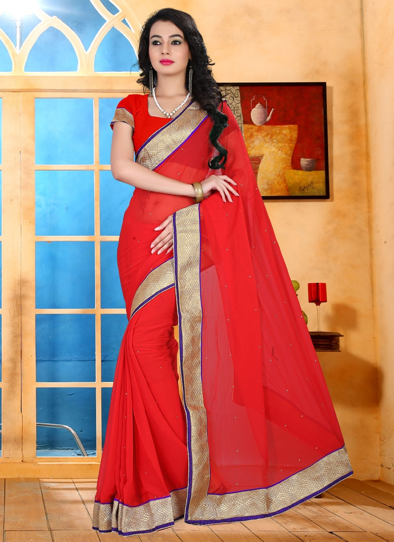 Luscious Faux Chiffon Red Color Casual Saree