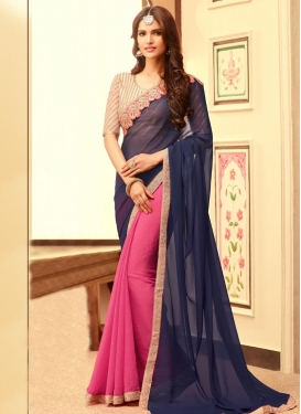 Luscious Hot Pink and Navy Blue  Faux Chiffon Designer Half N Half Saree