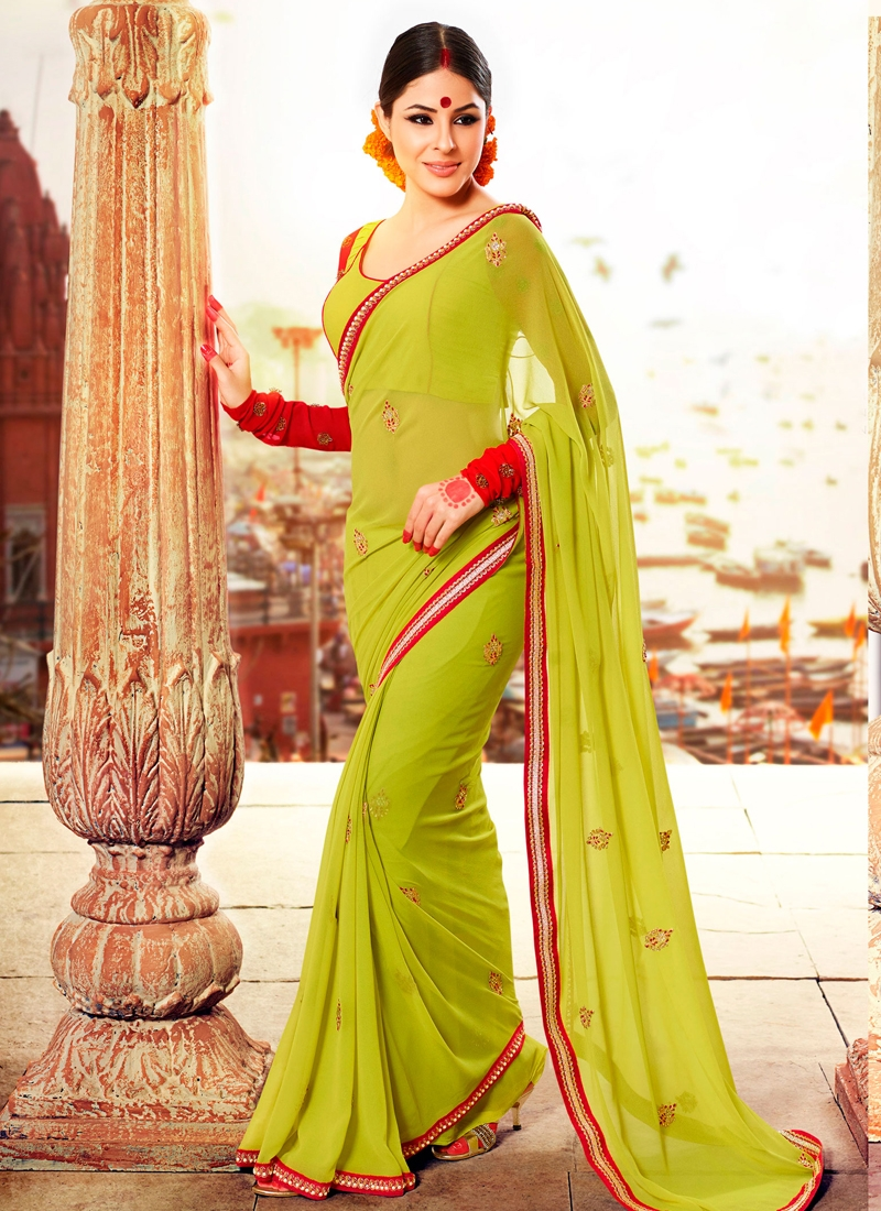Luscious Lace Work Georgette Party Wear Saree