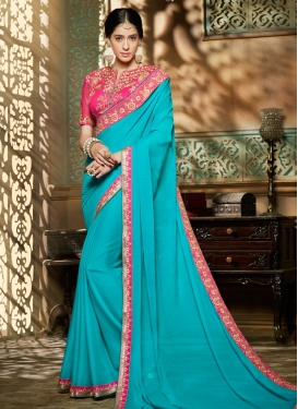 Luscious Light Blue and Rose Pink Embroidered Work Trendy Saree