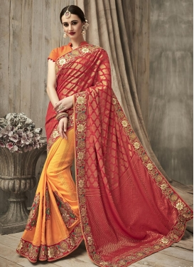 Luscious  Orange and Red Beads Work Half N Half Trendy Saree