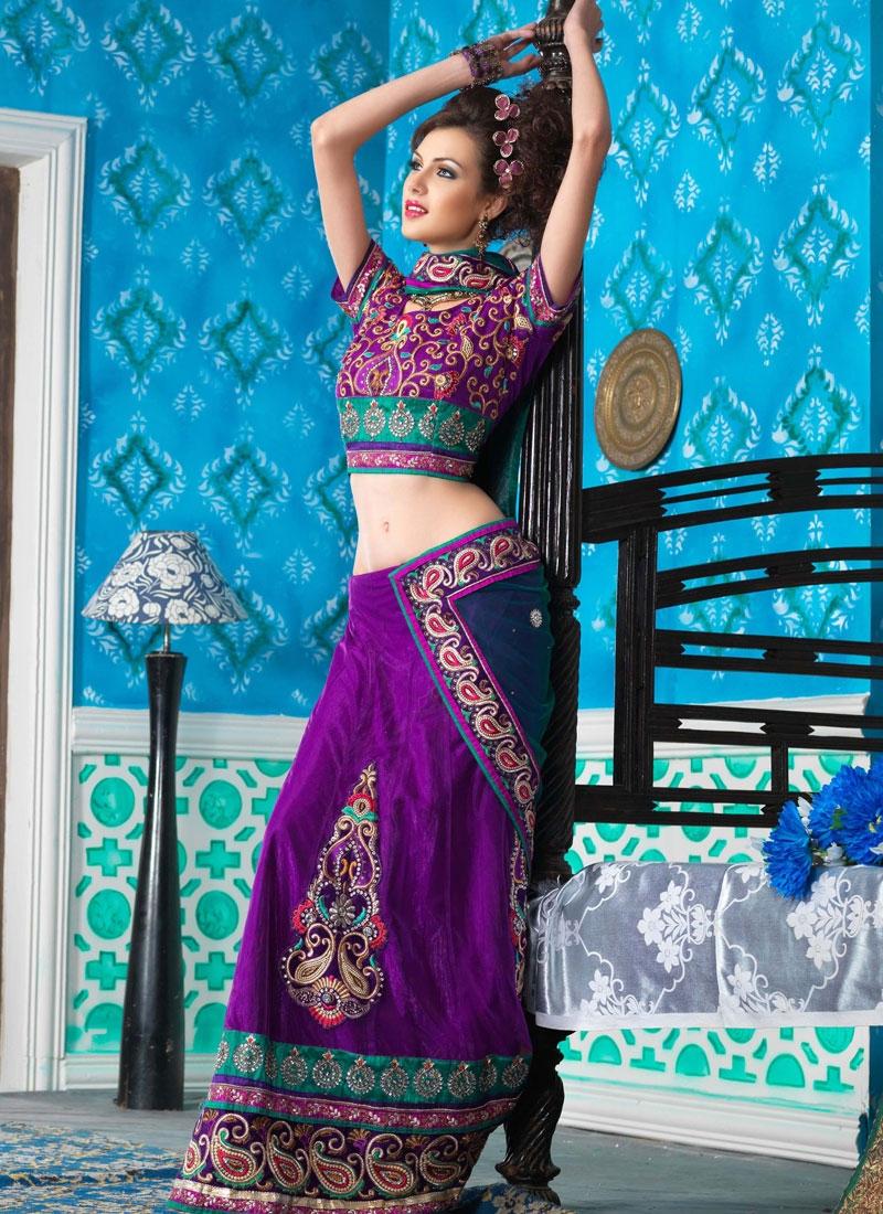 Luscious Purple Color Net Lehenga Saree