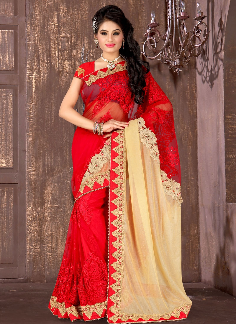 Luscious Red Color Lycra Resham Work Designer Saree